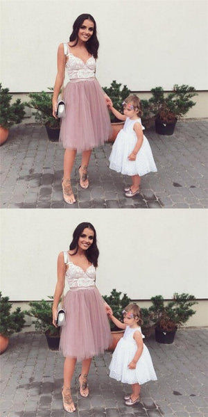 Sexy Spaghetti Strap V-neck Dusty Pink Tulle Homecoming Dresses with Lace, QB0215