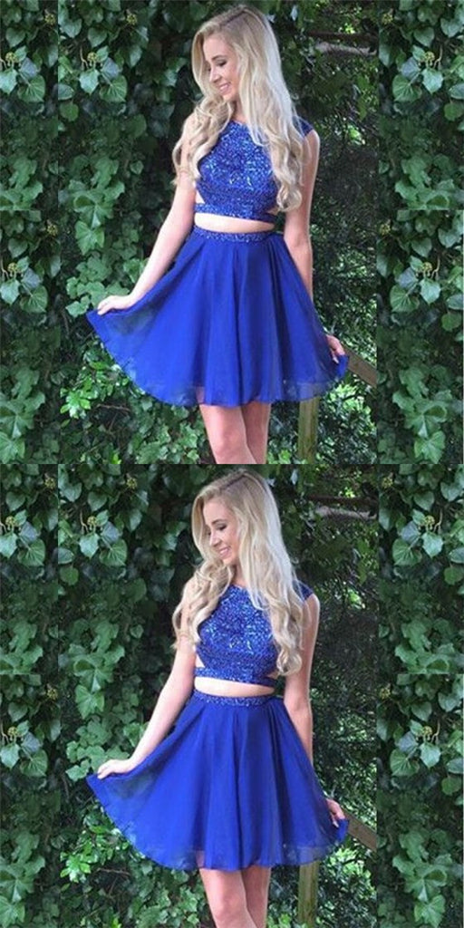 Two Piece Jewel Short Cheap Royal Blue Homecoming Dresses with Beading, QB0177