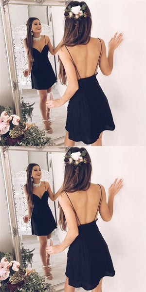 Sexy Spaghetti Strap Backless Short Cheap Black Homecoming Dresses Online, QB0045