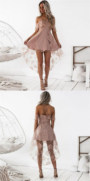 A-Line Spaghetti Straps High Low Blush Pink Lace Cheap Prom Homecoming Dresses, QB0074