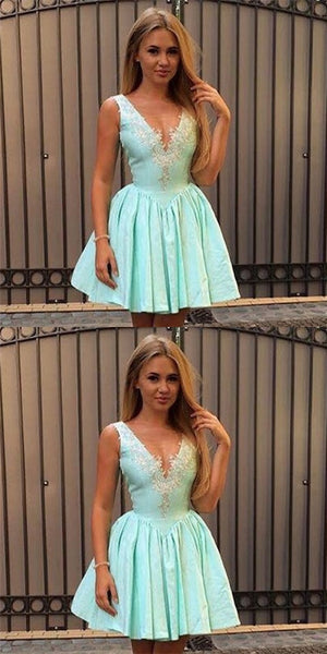 Sexy V-Neck Short Cheap Mint Satin Homecoming Dresses with Appliques, QB0197
