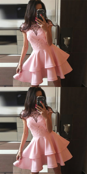 A-Line Bateau Cap Sleeves Short Cheap Pink Homecoming Dresses With Lace Applique, QB0062