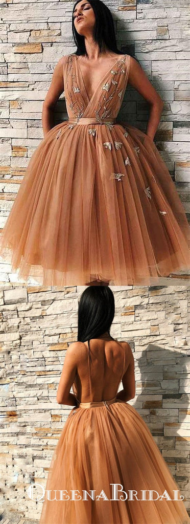 Chic V-Neck Sleeveless Brown Tulle Short Homecoming Dresses With Applique, QB0836