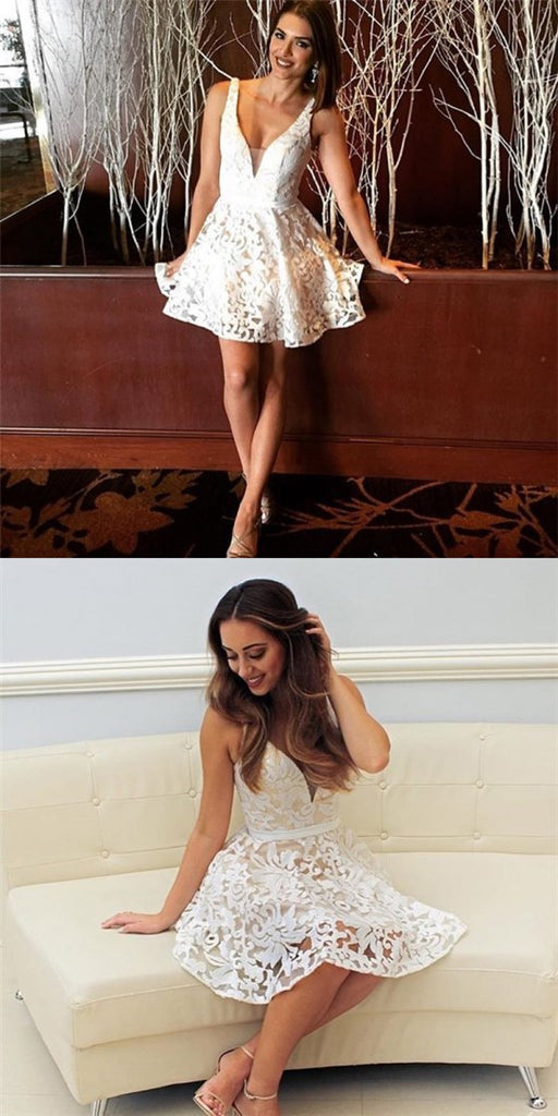 Sexy A-Line Spaghetti Strap V-Neck Short White Lace Homecoming Dresses, QB0073