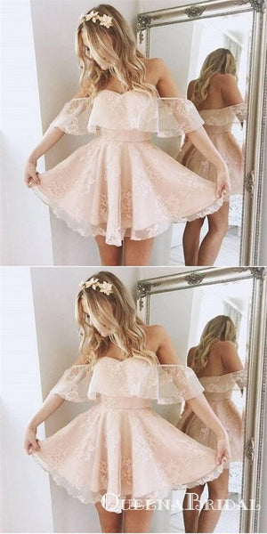 A-Line Off-Shoulder Short Blush Pink Lace Cheap Homecoming Dresses Online, QB0044