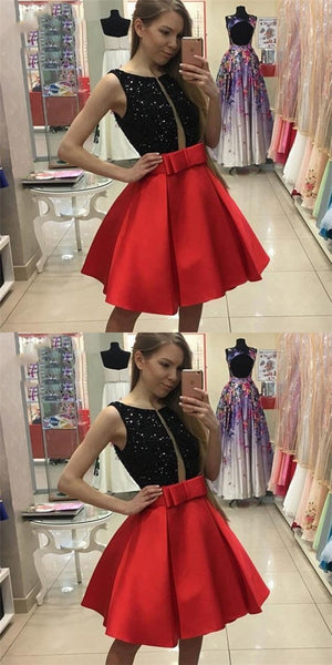 Sexy Jewel Red Satin Short Cheap Homecoming Dresses with Sequins & Bow Knot, QB0185