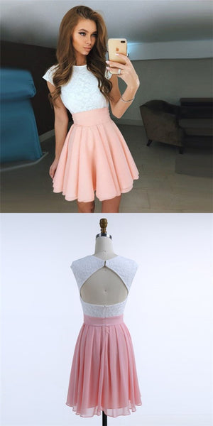 A-Line Jewel Open Back Pink Chiffon Short Cheap Homecoming Dresses with Lace, QB0048