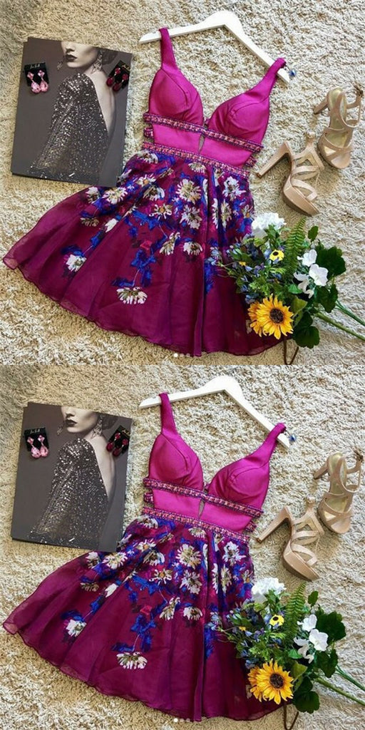 Sexy Deep V-Neck Short Floral Chiffon Homecoming Dresses with Beading, QB0064