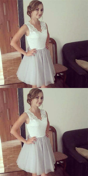 A-Line V-Neck Short Gray Tulle Cheap Homecoming Dresses with Lace, QB0055
