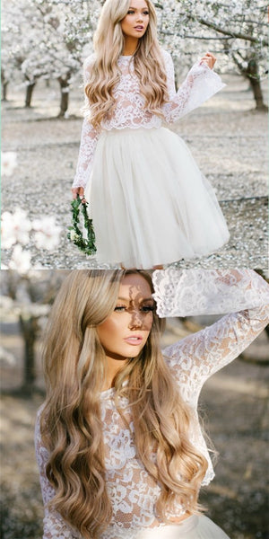 Two Piece Round Neck Short Cheap White Tulle Homecoming Dresses with Lace, QB0052