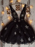 Black V-neck Tulle A-line Short Cheap Party Homecoming Dresses, HDS0038