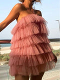 Halter Dusty Pink Tulle Short Cheap Party Homecoming Dresses, HDS0036