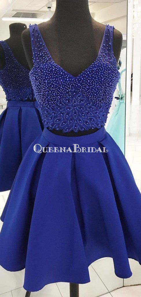 V Neck Beaded Royal Blue Two Piece Homecoming Dresses 2018, CM500