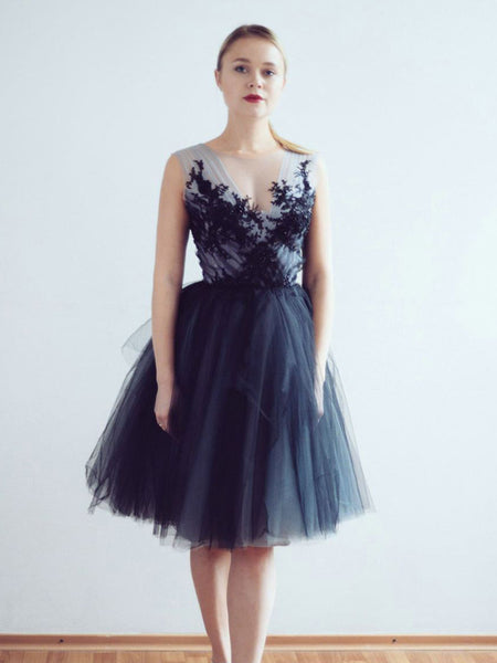 V-neck Navy Tulle A-line Short Cheap Party Homecoming Dresses, HDS0033