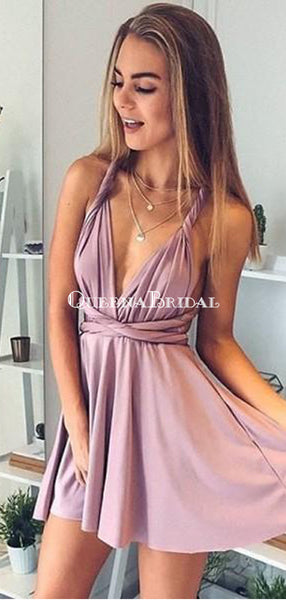 Sexy Deep V-Neck Short Cheap Blush Pink Homecoming Dresses, QB0217
