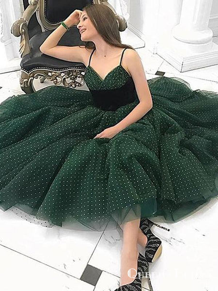 Popular Hot Selling V-neck Green Tulle A-line Short Cheap Party Homecoming Dresses, HDS0015
