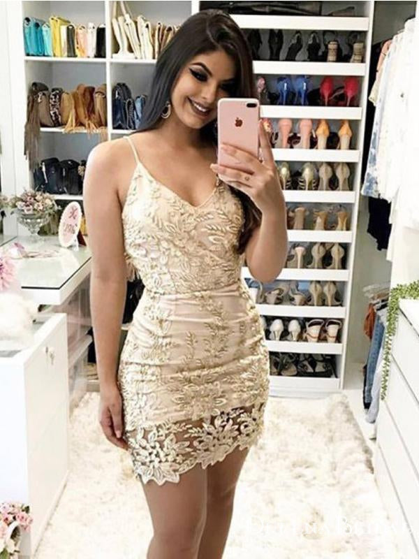 Sexy Spaghetti Straps V-neck Champagne Lace Short Party Homecoming Dresses, HDS0008