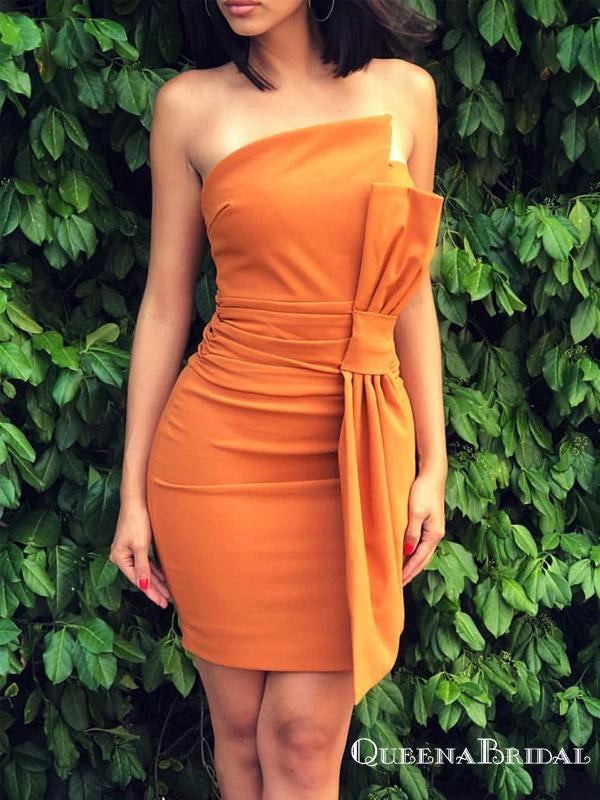 Charming Strapless Orange Fashion Short Party Homecoming Dresses, HDS0005