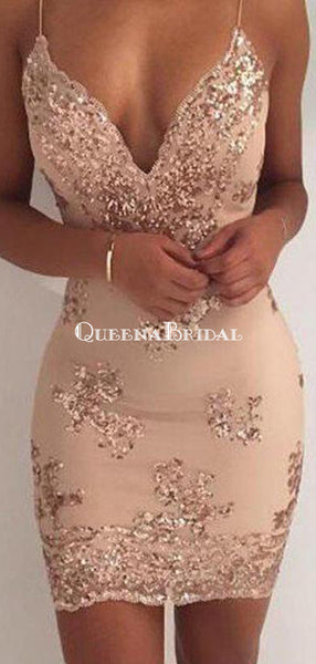 Spaghetti Straps V Neck Mermaid Tight Homecoming Dresses 2018, CM442