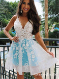Elegant V-neck White Lace A-line Short Cheap Party Homecoming Dresses, HDS0013