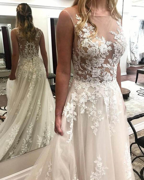Ivory Lace Wedding Dresses See Through Applique Bridal Dress with Court Train, QB0355