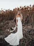 Ivory Mermaid Lace Rustic Wedding Dresses Illusion Neckline Beach Wedding Dresses, QB0321