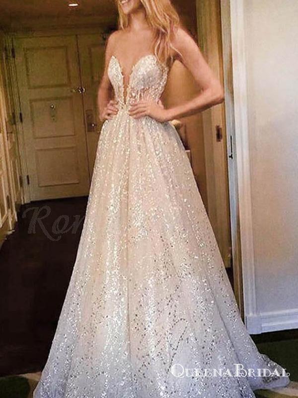 A-Line Sweetheart Long Sequins White Lace Prom Dresses with Illusion Back, QB0662
