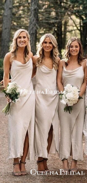 Simple Spaghetti Strap Ivory Elastic Silk Long Cheap Charming Bridesmaid Dresses Online, BDS0072