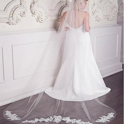 Romantic Tulle Long Wedding Veil With Lace Appliques, WV0112