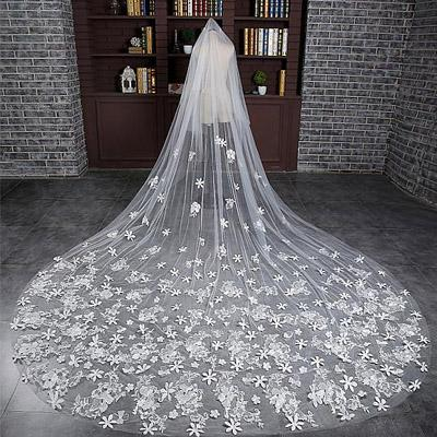 Luxurious Cathedral Tulle Long Wedding Veil With Lace Appliques,WV0130