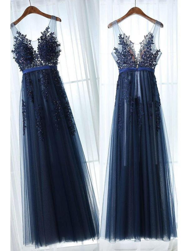 Lace Appliqued Peach Formal Dresses Navy Blue Tulle See Through Prom Dresses, QB0280