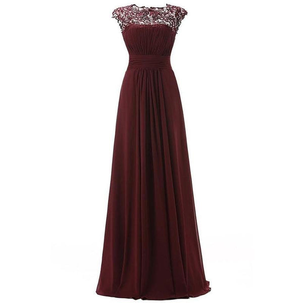 Open Back See Through Burgundy Lace Cheap Long Bridesmaid Dresses Online, WG295