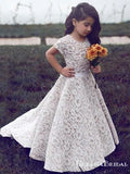 Elegant Jewel Short Sleeves Sweep Train Ivory Lace Long Cheap Flower Girl Dresses, QB0079