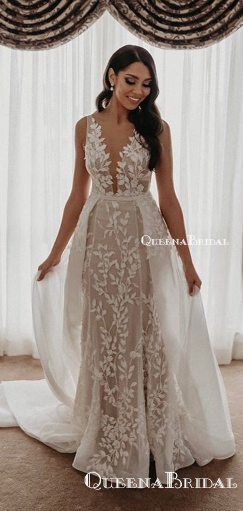 Charming V-neck Spaghetti Strap Ivory Lace A-line Long Cheap Formal Wedding Prom Dresses, PDS0061