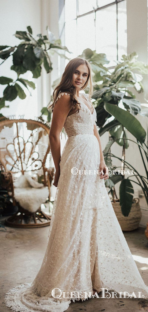 Charming Elegant Cute V-neck Sleeveless Long Cheap Mermaid Side Slit Lace Wedding Dresses, QB0933