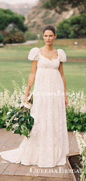 Short Sleeves Bateau Neckline Charming Elegant A-line Long Cheap Lace Wedding Dresses, QB0938