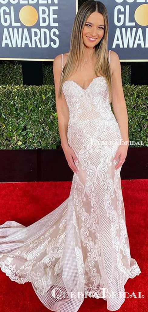Elegant Spaghetti Strap Ivory Lace Mermaid Long Cheap Formal Evening Dresses, Prom Dresses, PDS0064