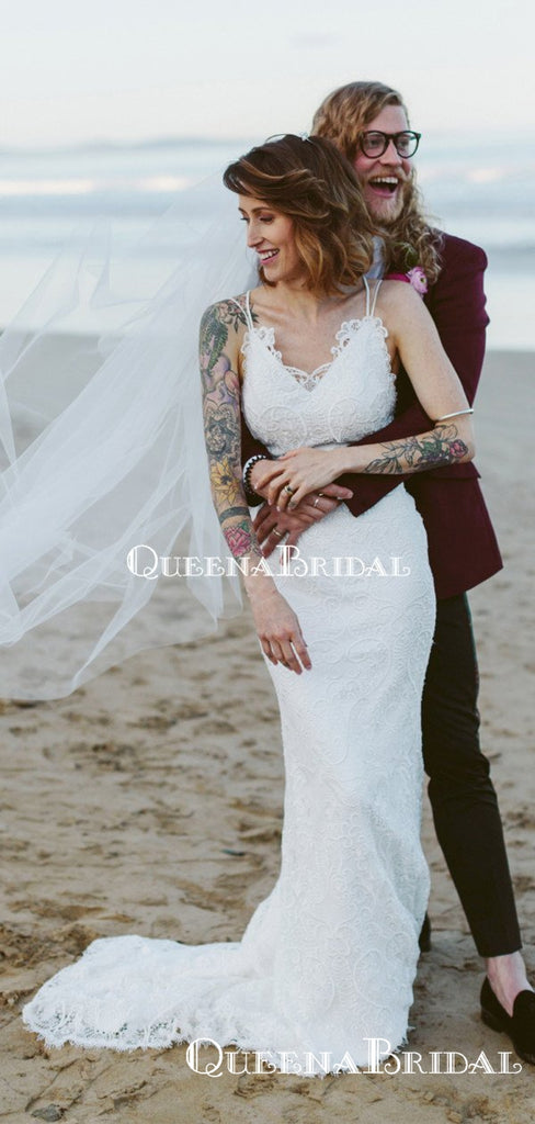 Charming V-neck Sleeveless Lace Mermaid Long Cheap Wedding Dresses, WDS0030