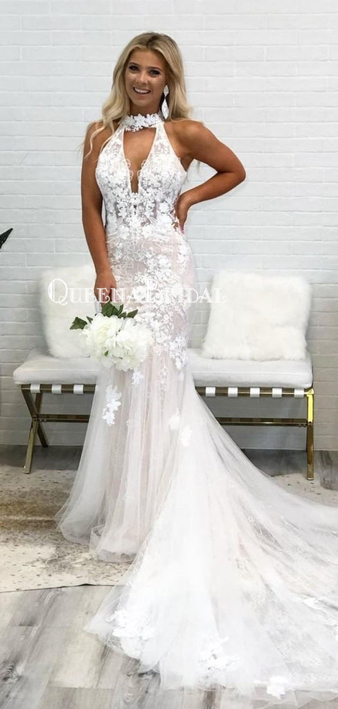 Elegant Halter Tulle Applique Mermaid Long Cheap Wedding Dresses, WDS0048