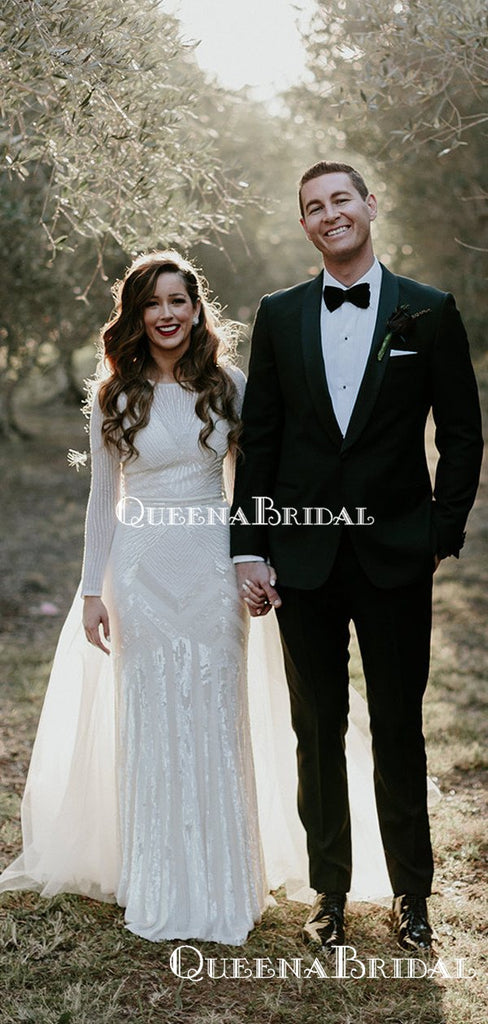 Charming Bateau Long Sleeve Ivoey Lace Mermaid Long Cheap Wedding Dresses, WDS0026