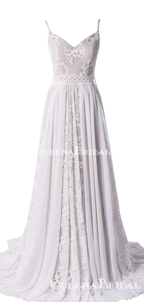 New Arrival Bohemian Spaghetti Straps Beach Wedding Dresses, WDS0036