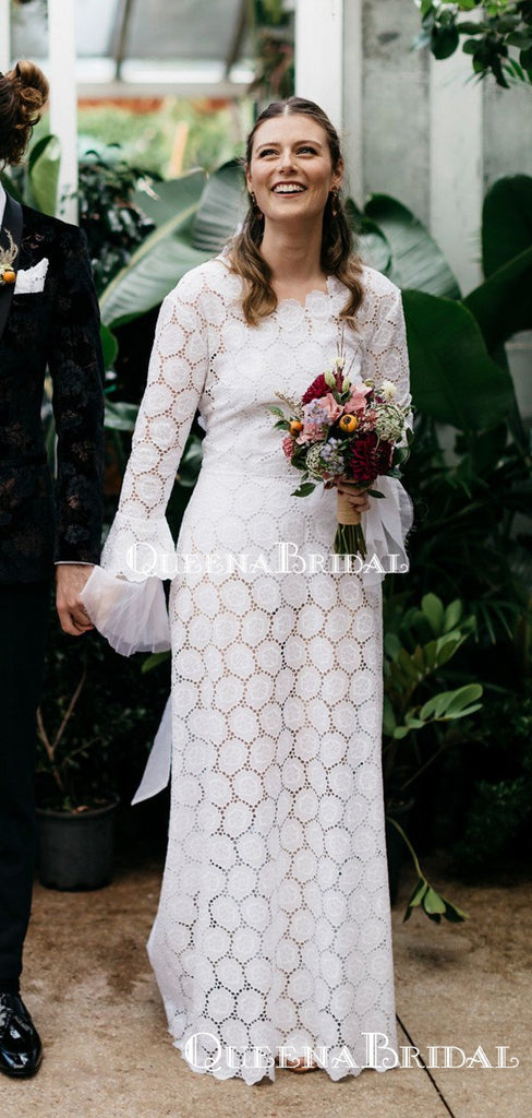 Popular Long Sleeve Backless Lace Mermaid Long Cheap Wedding Dresses, WDS0028
