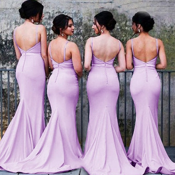 biggest selection a great variety of models quality first Mermaid Spaghetti Strap Long Cheap Lavender Satin Bridesmaid Dresses  Online, QB0152