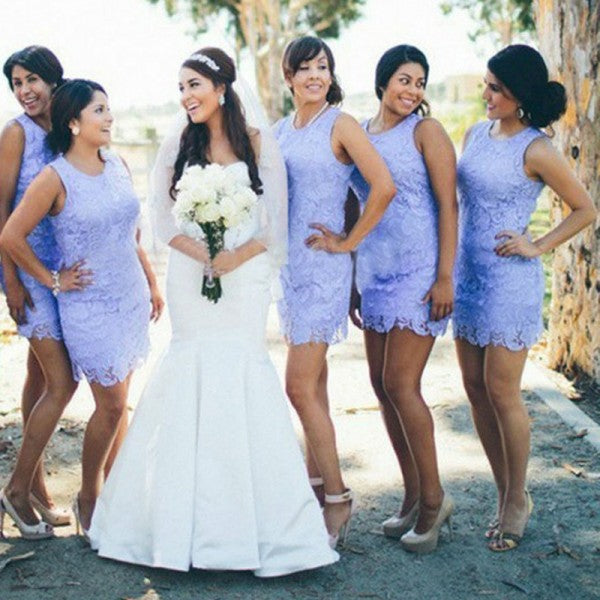 Sexy Round Neck Sleeveless Lavender Lace Short Cheap Bridesmaid Dresses Online, QB0168