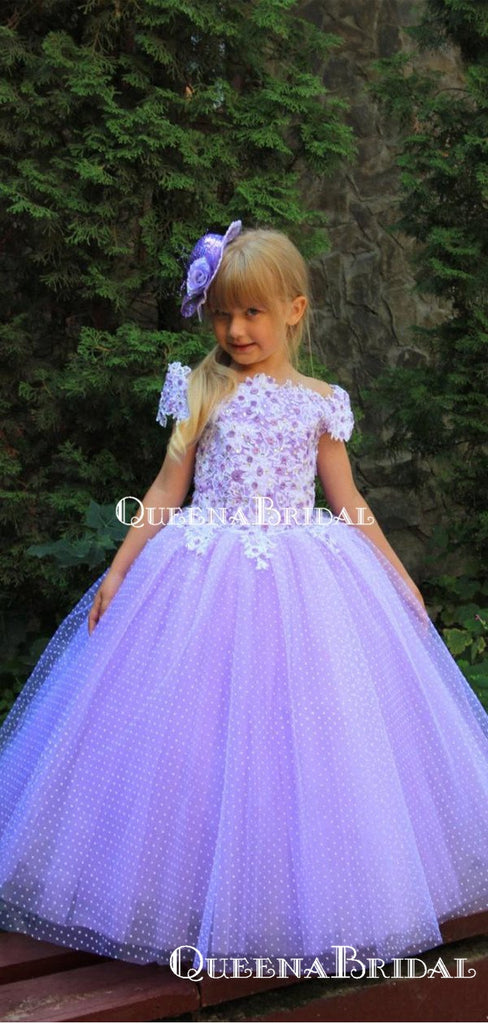 Elegant Off-The-Shoulder Lavender Tulle Appliqued A-line Long Cheap Flower Girl Dresses, FGS0025