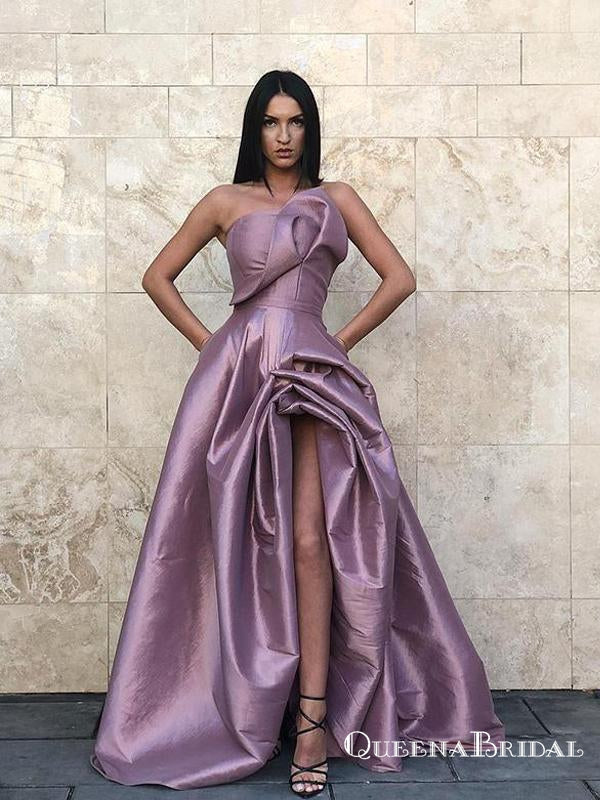 Lavender Long Strapless Evening Gowns Split Prom Dresses with Pockets, QB0773
