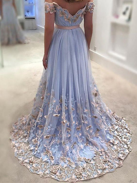 Light Blue Prom Dresses Lace Appliqued Off the Shoulder Long Prom Dresses, QB0337