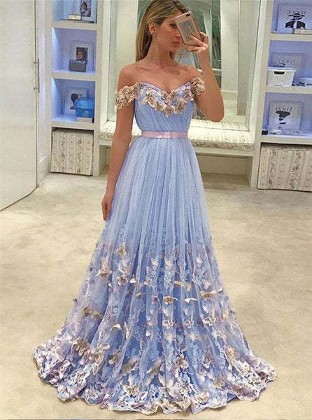 78d68fedb3 Light Blue Prom Dresses Lace Appliqued Off the Shoulder Long Prom Dresses,  QB0337
