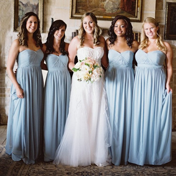 2378727616f Elegant Sweetheart Long Cheap Light Blue Chiffon Bridesmaid Dresses Online
