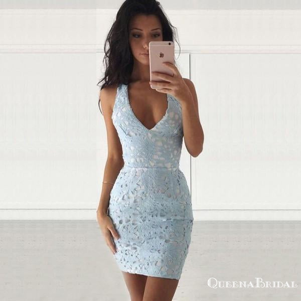 Tight V-Neck Sleeveless Short Cheap Light Blue Lace Homecoming Dresses, QB0178